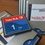 SANDISK 1 GB PCMCI COMPACT FLASH KART VE ADAPTORU 3